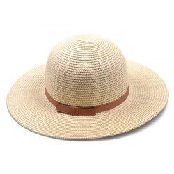 Bow Band Cloche Sun Straw Hat - LIGHT KHAKI