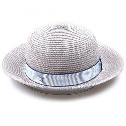 Striped Band Embellished Flanging Bowler Straw Hat - GRAY