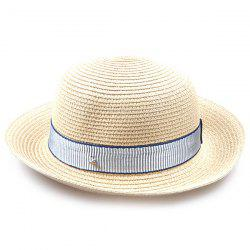 Striped Band Embellished Flanging Bowler Straw Hat - OFF-WHITE