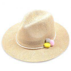 Small Pompon Rope Embellished Straw Jazz Hat - OFF-WHITE