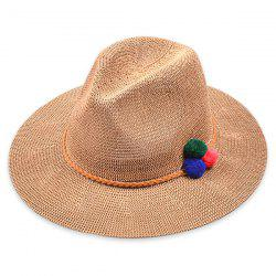 Small Pompon Rope Embellished Straw Jazz Hat -