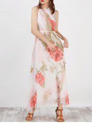 Ruffled Floral Print Sleeveless Long Maxi Bohemian Dress