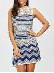 Crochet Panel Zig Zag Pattern Mini Dress