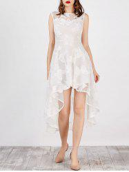 High Low Funky Short Wedding Lace Dress - WHITE