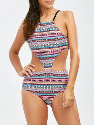 Tribal Print Backless One Piece Swimsuit