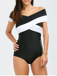 Color Block Criss One Piece Swimsuit