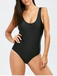 Open Back One Piece Swimsuit - BLACK