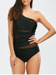 One Shoulder Mesh Insert One Piece Swimsuit