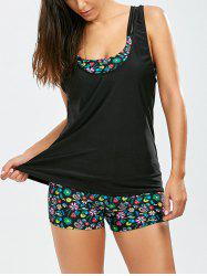 Print Cut Out Blouson Tankini Set - BLACK