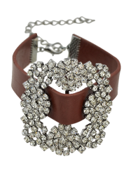 Vintage Rhinestone PU Leather Flower Bracelet