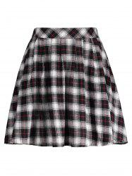 Plaid A Line Mini Skirt - BLACK