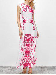 Cap Sleeve Long Printed Maxi Cocktail Party Dress