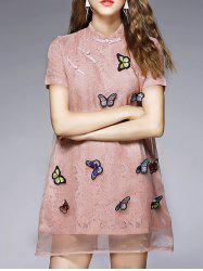 Mandarin Collar Mini 3D Butterfly Embellished Dress