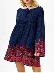 Empire Waist Printed Flare Sleeve Bohemian Dress - PURPLISH BLUE