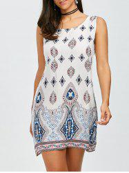Bohemian Sleeveless Casual Shift Dress - WHITE