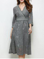 Flare Sleeve High Waist Fringed Lace Dress - GRAY