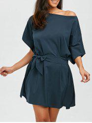 Skew Collar Mini Dress with Belt