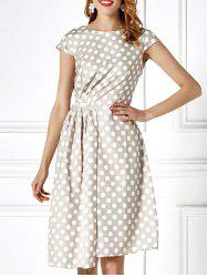 Cap Sleeve Polka Dot Asymmetric Jersey Dress