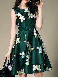 Sleeveless Floral Printed Flare Dress
