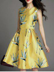 Printed Sleeveless Pockets Flare Dress -