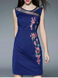 Floral Embroidery High Waist Mesh Panel Dress