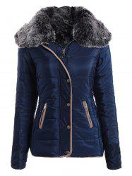 Chic Turn-Down Neck Long Sleeve Pocket Design Women's Padded Coat - CADETBLUE