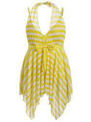 Plus Size Stripe One Piece Skirted Swimsuit -