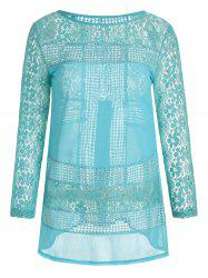 Lace Panel Long Sleeve Mini Tunic Dress
