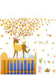Falling Leaves Little Deer Print Children Room Wall Sticker