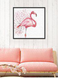 Watercolor Dotted Flamingo Print Wall Art Canvas - RED