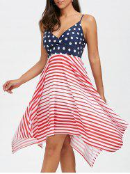 Bohemian Polka Dot Stripe Asymmetrical Slip Dress -