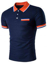 Fake Pocket Striped Polo T-Shirt -