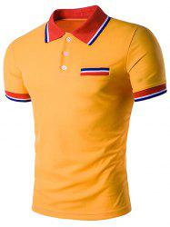 Faux Pocket Striped Polo T-Shirt -