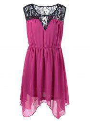 Plus Size Lace Panel Chiffon Handkerchief Dress