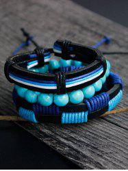 Faux Leather Turquoise Hand Woven Bracelet Set