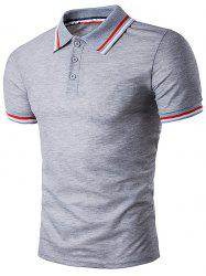 Polo T-Shirt with Striped Sleeve Collar - LIGHT GRAY