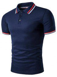 Polo T-Shirt with Striped Sleeve Collar - CADETBLUE