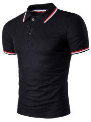 Polo T-Shirt with Striped Sleeve Collar