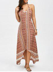 Halter Neck Printed High Low Bohemian Long Dress