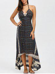 Halter Neck Printed High Low Bohemian Long Dress - BLUE