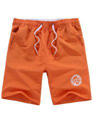 Drawstring Graphic Beach Shorts - ORANGE