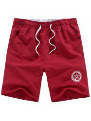 Drawstring Graphic Beach Shorts - WINE RED