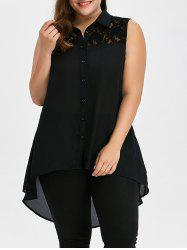 Lace Insert Plus Size Tunic Long Tank Top - BLACK