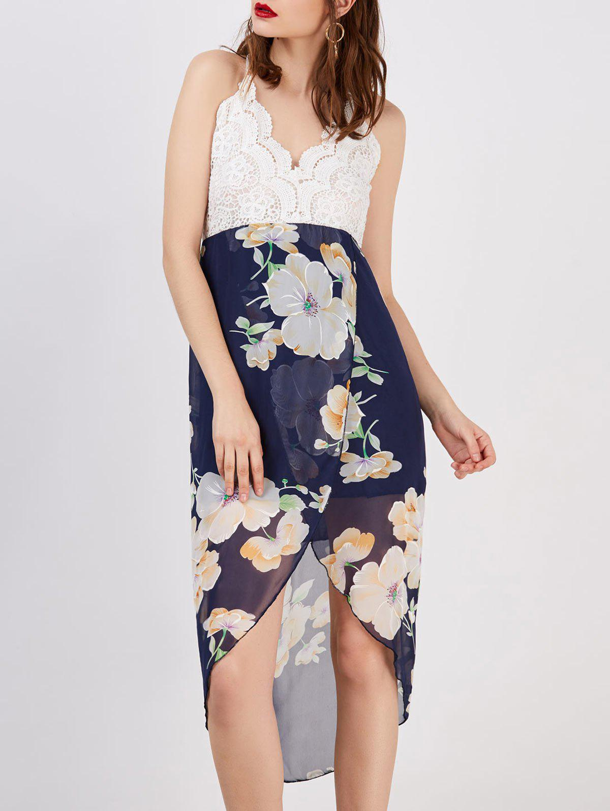 Chic Floral Print Backless Asymmetrical Midi Dress