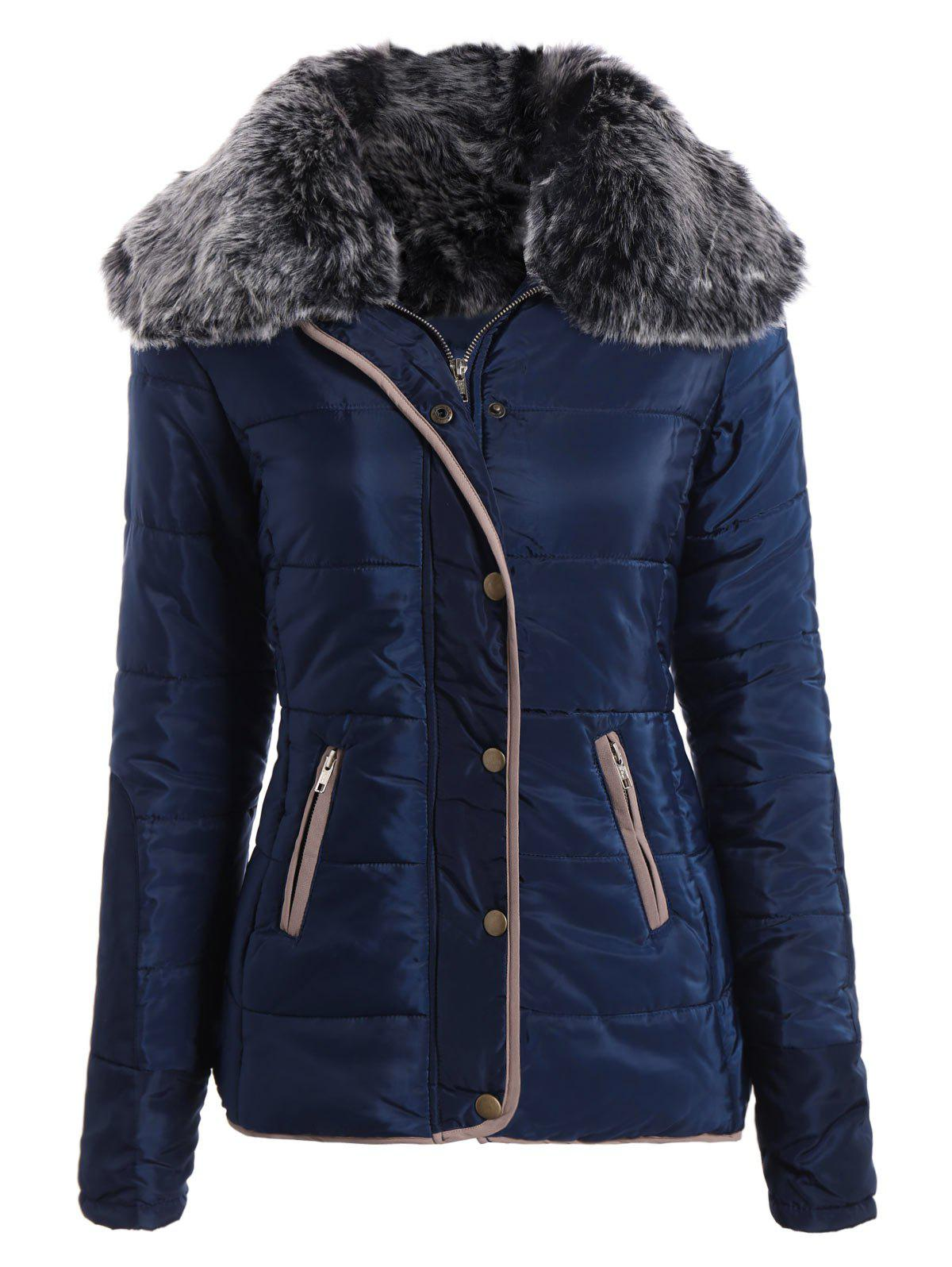 Long Sleeve Pocket Design Winter Padded Coat JacketWOMEN<br><br>Size: S; Color: CADETBLUE; Clothes Type: Padded; Material: Polyester,Faux Fur; Type: Slim; Shirt Length: Long; Sleeve Length: Full; Collar: Turn-down Collar; Pattern Type: Patchwork; Embellishment: Pockets; Style: Fashion; With Belt: No; Weight: 0.587kg; Package Contents: 1 x Padded Coat;