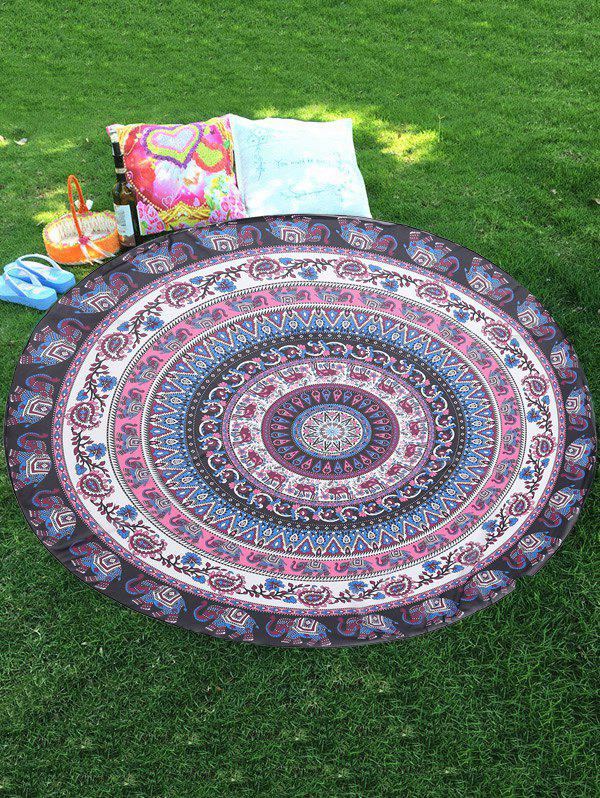 Latest Thailand Elephant Mandala Round Shape Chiffon Beach Throw
