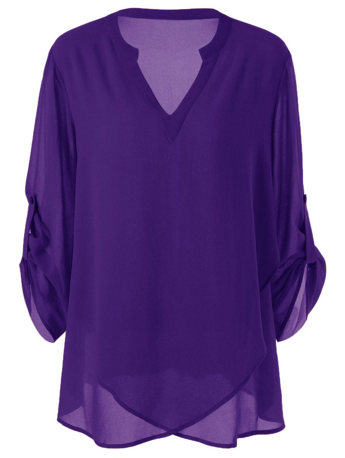 Plus Size Split-Neck Adjustable Sleeve BlouseWOMEN<br><br>Size: 3XL; Color: PURPLE; Material: Polyester; Shirt Length: Long; Sleeve Length: Full; Collar: V-Neck; Style: Casual; Season: Fall,Spring,Summer; Pattern Type: Solid; Weight: 0.3400kg; Package Contents: 1 x Blouse;