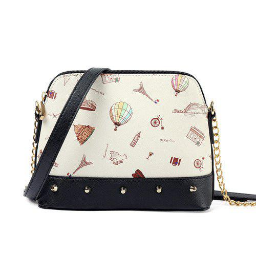 Outfit Print Stud Chains Crossbody Bag