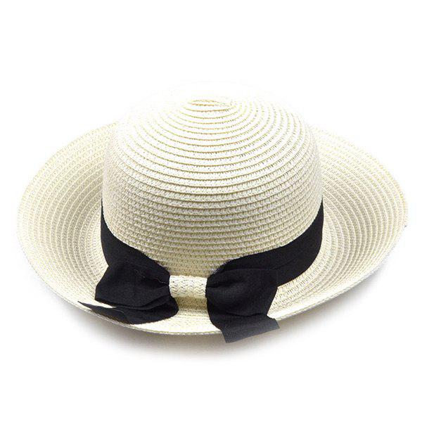 Outfit Flanging Bowknot Band Bowler Straw Hat