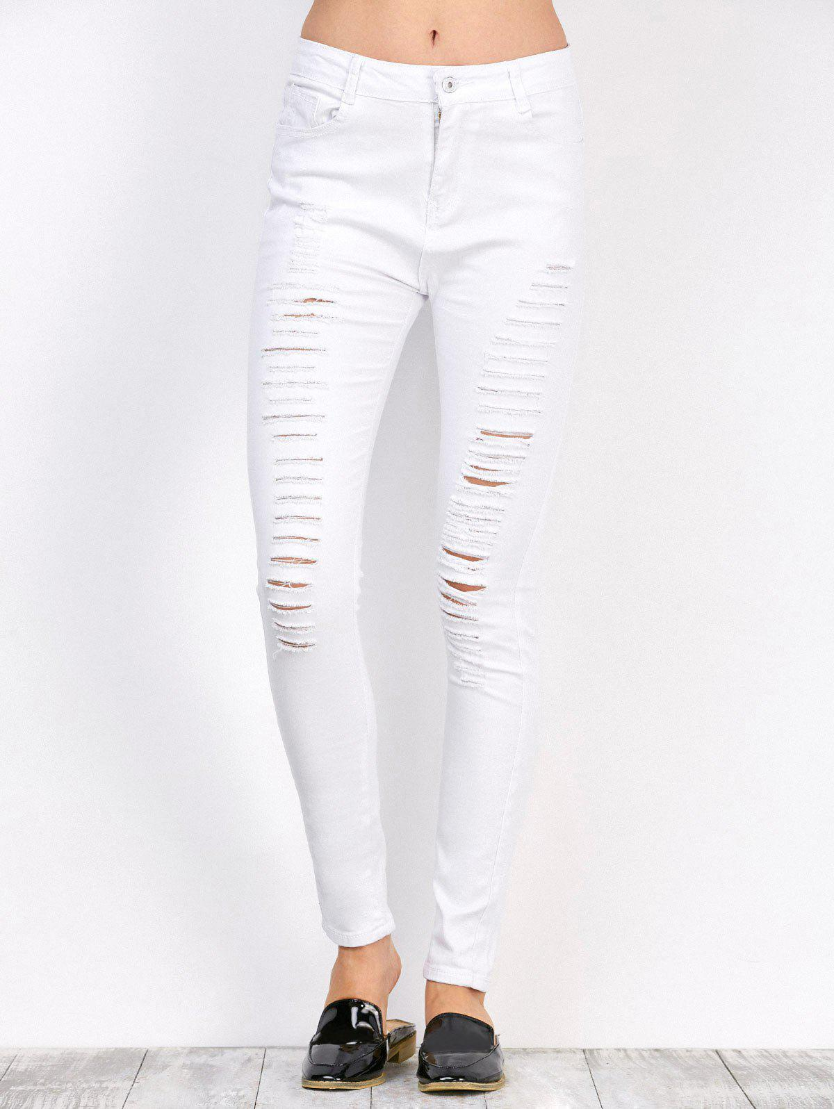 Chic Distressed High Waist Stretchy Skinny Pants
